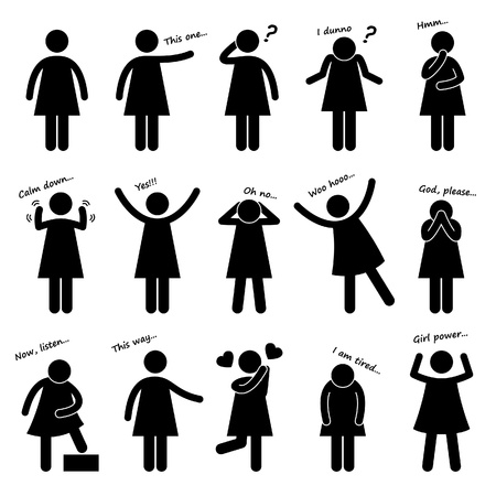 Woman Girl Female People Person Basic Body Language Posture Stick Figure Pictogram Ico