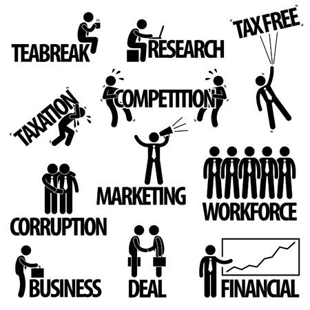 Vektor für Business Finance Businessman Entrepreneur Employee Worker Team Text Word Stick Figure Pictogram Icon - Lizenzfreies Bild