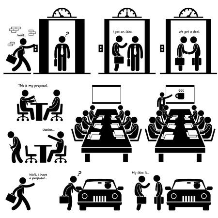 Business Proposal Idea Presentation Sales Elevator Pitch Investor Venture Capitalist Meeting Stick Figure Pictogram Icon