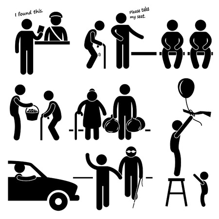 Kind Good Hearted Man Helping People Stick Figure Pictogram Icon