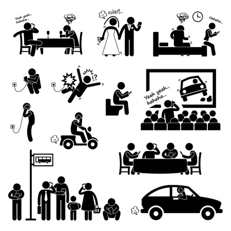Addiction Obsession Using Smartphone Handphone Phone Stick Figure Pictogram Icon