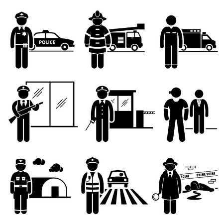 Illustration pour Public Safety and Security Jobs Occupations Careers - Police, Firefighter, EMT, Security Guard, Watchman, Bodyguard, Soldier, Traffic Officer, Detective - Stick Figure Pictogram - image libre de droit