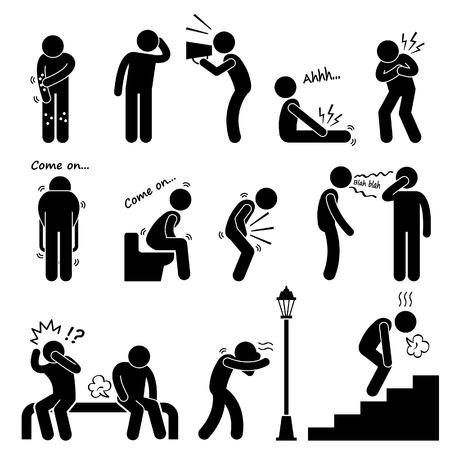Illustration pour Human Disease Illness Sickness Symptom Syndrome Signs Stick Figure Pictogram Icon - image libre de droit