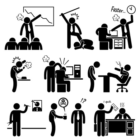 Angry Boss Abusing Employee Stick Figure Pictogram Icon