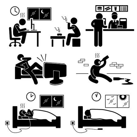 Unhealthy Poor Lifestyle Habit Stick Figure Pictogram Icon