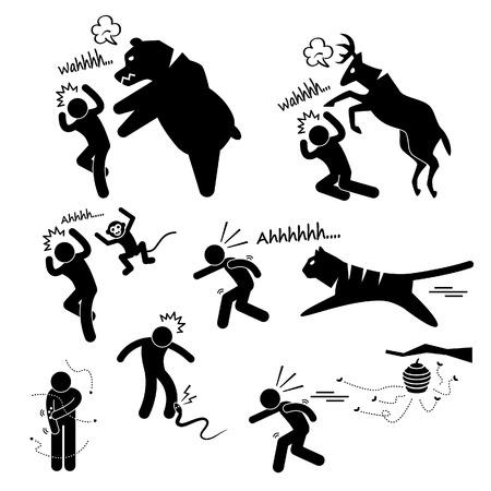 Wild Animal Attacking Hurting Human Stick Figure Pictogram Icon