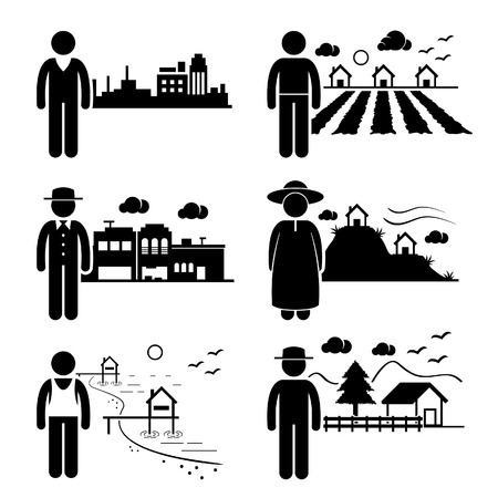 People in City Cottage House Small Town Highlands Seaside Village Home Stick Figure Pictogram Icon