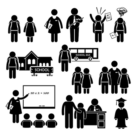 Illustration pour Student Teacher Headmaster School Children Stick Figure Pictogram Icon Clipart - image libre de droit