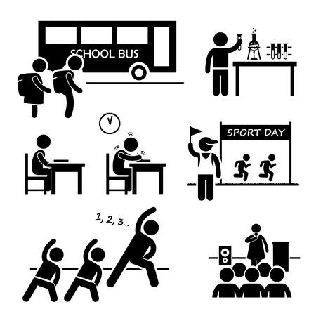 School Activity Event for Student Stick Figure Pictogram Icon Clipart