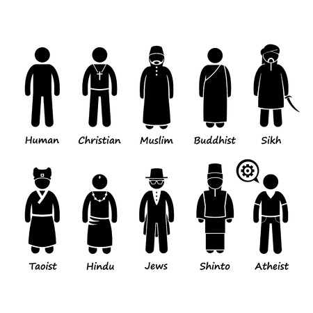 Illustration pour Religion of People in the World Stick Figure Pictogram Icon Cliparts - image libre de droit
