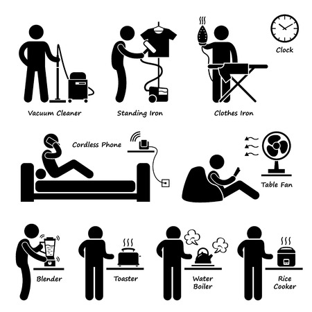 Home House Electronic Appliances Tools and Equipments Stick Figure Pictogram Icon Cliparts