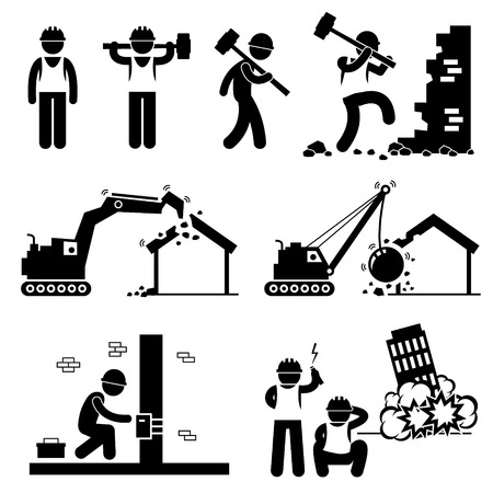 Illustration for Demolition Worker Demolish Building Stick Figure Pictogram Icon Cliparts - Royalty Free Image