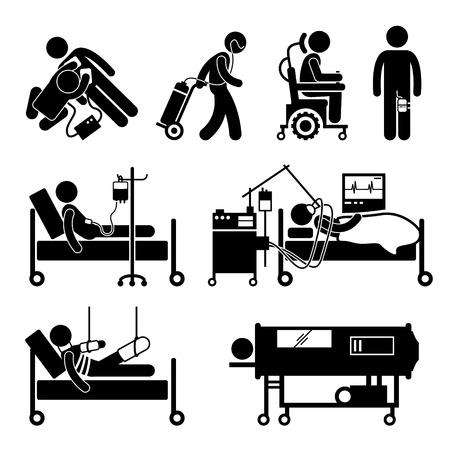 Illustration pour Life Support Equipments Stick Figure Pictogram Icons - image libre de droit