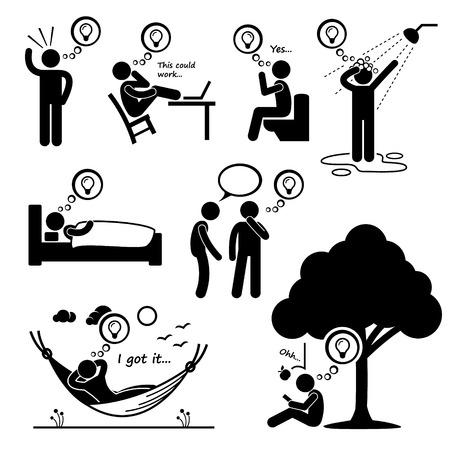 Illustration pour Man Thought of New Idea Stick Figure Pictogram Icons - image libre de droit