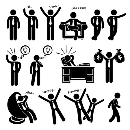 Successful Happy Businessman Poses Stick Figure Pictogram Icons