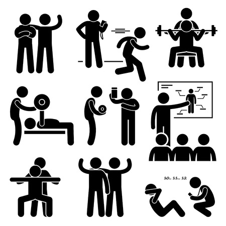 Illustration pour Personal Gym Coach Trainer Instructor Exercise Workout Stick Figure Pictogram Icons - image libre de droit
