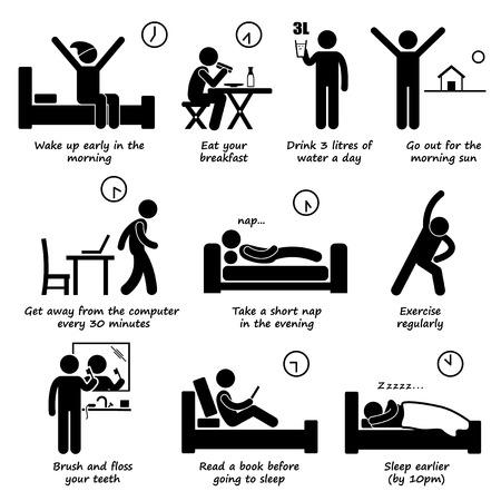 Ilustración de Healthy Lifestyles Daily Routine Tips Stick Figure Pictogram Icons - Imagen libre de derechos