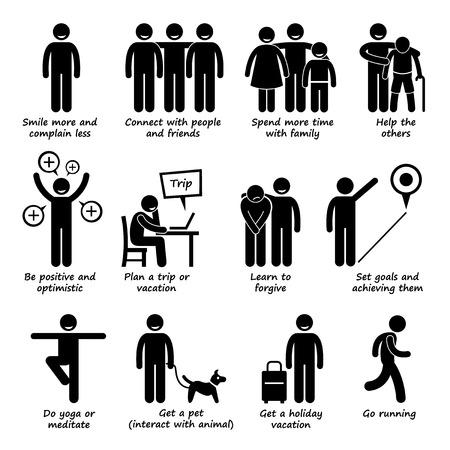 Illustration pour How to be a Happier Person Stick Figure Pictogram Icons - image libre de droit