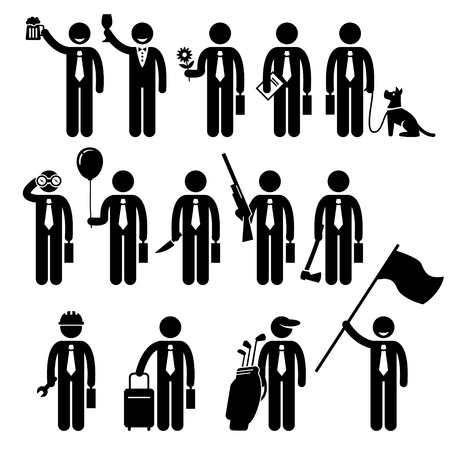 Illustration pour Businessman Business Holding Objects Man Stick Figure Pictogram Icon - image libre de droit
