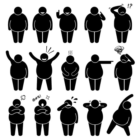 Illustration for Fat Man Action Poses Postures Stick Figure Pictogram Icons - Royalty Free Image