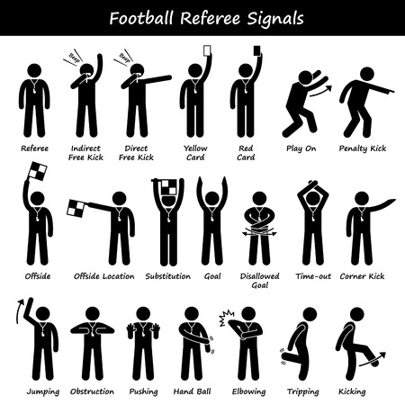 Football Soccer Referees Officials Hand Signals Stick Figure Pictogram Icons