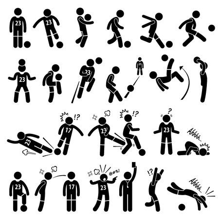 Ilustración de Football Soccer Player Footballer Actions Poses Stick Figure Pictogram Icons - Imagen libre de derechos