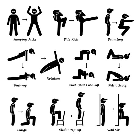 Foto de Body Workout Exercise Fitness Training Set 1 Stick Figure Pictogram Icons - Imagen libre de derechos