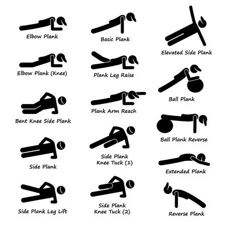 Plank Training Variations Exercise Stick Figure Pictogram Icons