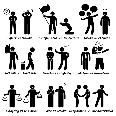 Human Opposite Behaviour Positive vs Negative Character Traits Stick Figure Pictogram Icons