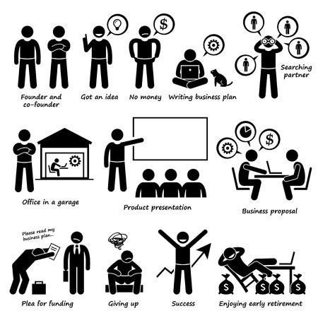 Illustration pour Entrepreneur Creating a Startup Business Company Pictogram - image libre de droit
