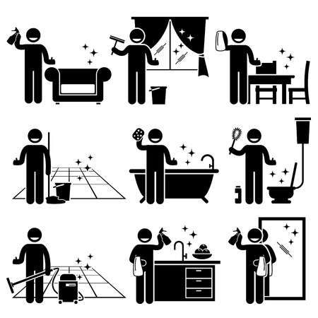 Man washing and cleaning house sofa, windows, wooden furniture, floor, bathtub, toilet bowl, kitchen, and mirror at home.
