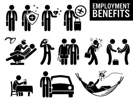 Worker Employment Job Benefits Stick Figure Pictogram Icons