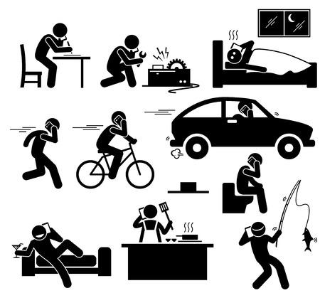 Ilustración de Talking on Cellphone Phone While Doing Something Stick Figure Pictogram Icons - Imagen libre de derechos