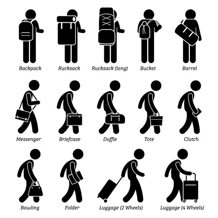 Illustration pour Man Male Bags and Luggage Stick Figure Pictogram Icons - image libre de droit