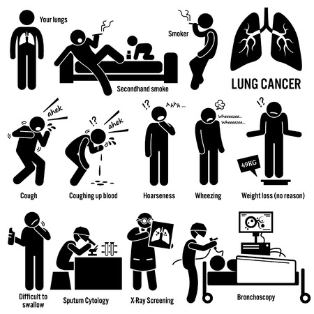 Illustration pour Lung Cancer Symptoms Causes Risk Factors Diagnosis Stick Figure Pictogram Icons - image libre de droit