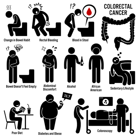 Illustration pour Colon and Rectal Colorectal Cancer Symptoms Causes Risk Factors Diagnosis Stick Figure Pictogram Icons - image libre de droit
