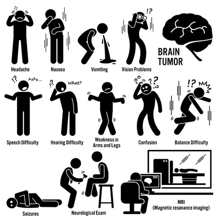 Illustration pour Brain Tumor Cancer Symptoms Causes Risk Factors Diagnosis Stick Figure Pictogram Icons - image libre de droit