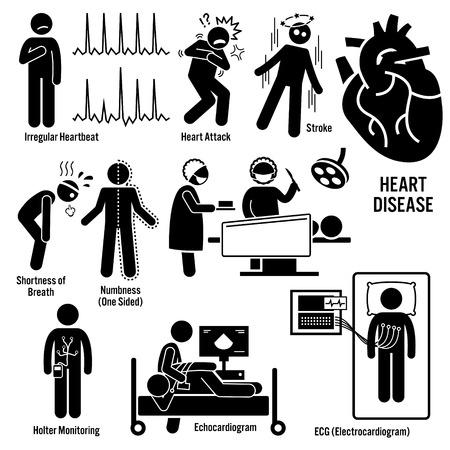 Illustration pour Cardiovascular Disease Heart Attack Coronary Artery Illness Symptoms Causes Risk Factors Diagnosis Stick Figure Pictogram Icons - image libre de droit
