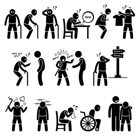 Illustration pour Alzheimer and Dementia Elderly Old Man Stick Figure Pictogram Icons - image libre de droit