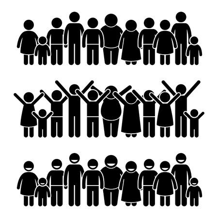 Ilustración de Group of Happy Children Standing Smiling and Raising Hands Stick Figure Pictogram Icons - Imagen libre de derechos
