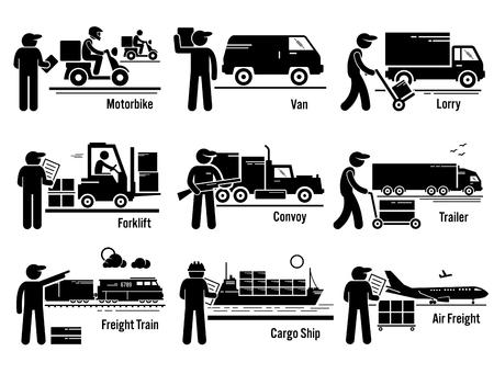 Ilustración de Logistic Transportation Vehicles Set - Imagen libre de derechos