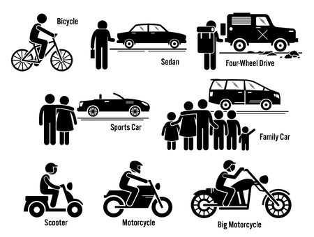 Ilustración de Land Personal Transport Transportation Vehicles Set - Imagen libre de derechos