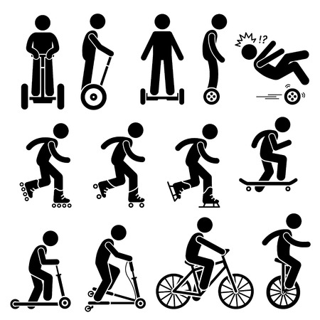 Illustration pour Park Ride Vehicles Stick Figure Pictogram Icons - image libre de droit