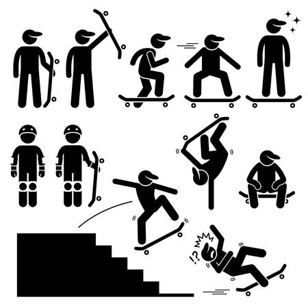 Ilustración de Skateboarder Skating on Skateboard Stick Figure Pictogram Icons - Imagen libre de derechos
