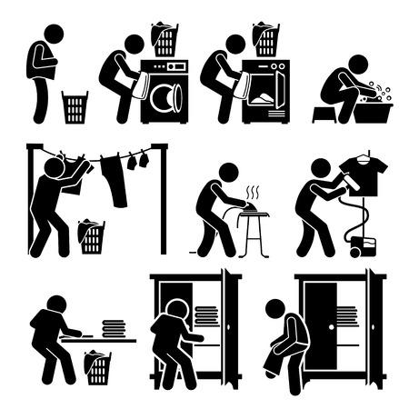 Illustration pour Laundry Works Washing Clothes Pictogram - image libre de droit