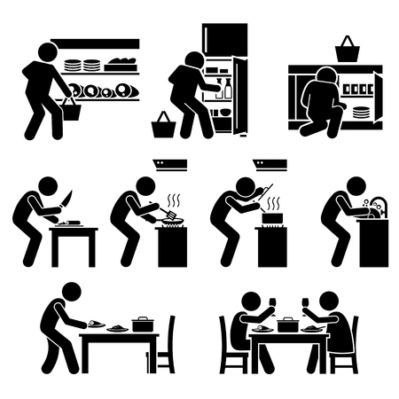 Illustration for Cooking at Home and Preparing Food Pictogram - Royalty Free Image