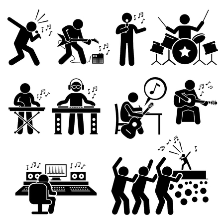 Illustration pour Rock Star Musician Music Artist with Musical Instruments Stick Figure Pictogram Icons - image libre de droit