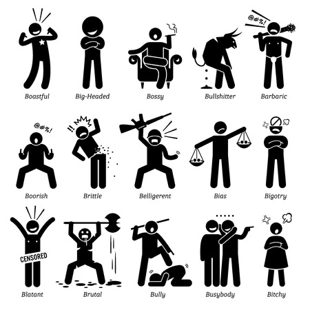 Illustration pour Negative Personalities Character Traits. Stick Figures Man Icons. Starting with the Alphabet B. - image libre de droit