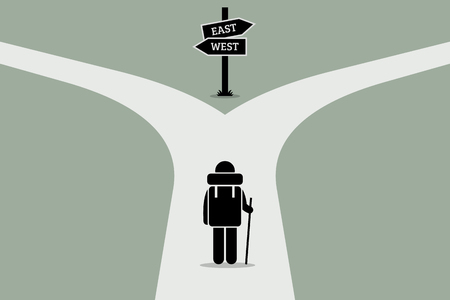 Illustration pour Explorer reaching a split road trying to make decision on where to go next. Road sign showing different directions. Vector artwork depicts junction of life, decision making, and uncertain future. - image libre de droit