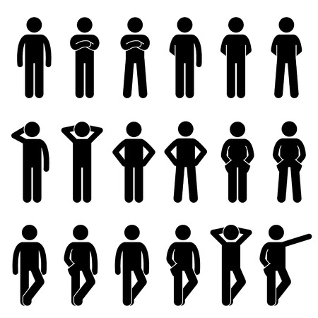 Various Basic Standing Human Man People Body Languages Poses Postures Stick Figure Stickman Pictogram Icons Set